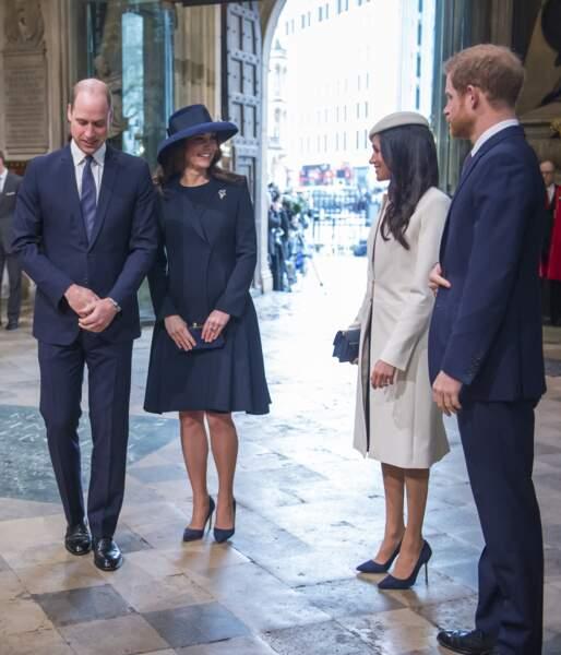 Le prince William, Kate Middleton, Meghan Markle et le prince Harry à la cérémonie du Commonwealth