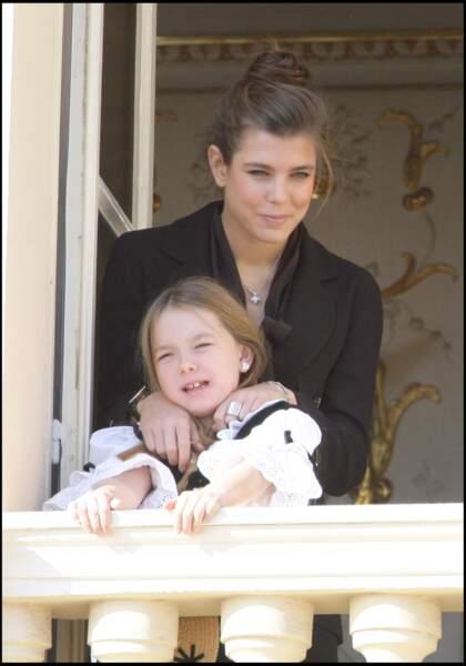 Alexandra de Hanovre et Charlotte Casiraghi lors de la fête monégasque le 19 novembre 2007