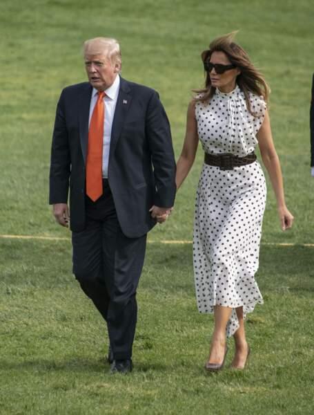 Melania Trump à la pointe de la mode en Alessandra Rich à Washington, le 24 avril 2019