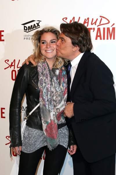 """Bernard Tapie et sa fille Sophie à l'avant-première de """"Salaud on t'aime"""" à Paris, le 31 mars 2014."""
