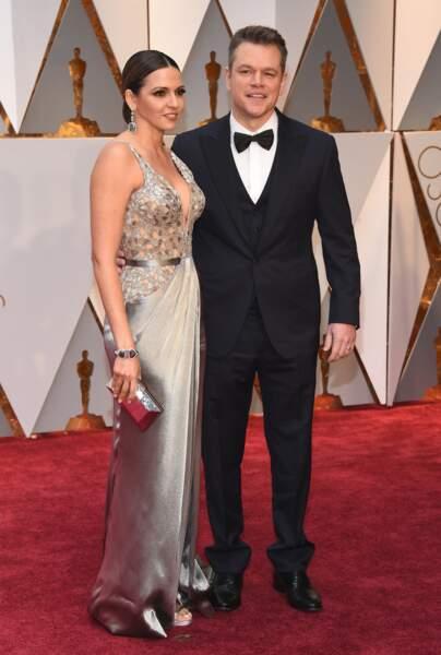 Luciana Barroso et Matt Damon sous les néons d'Hollywood