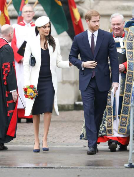 La famille royale d'Angleterre quitte la cérémonie du Commonwealth en l'abbaye Westminster à Londres, en mars 2018.
