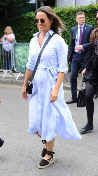 Pippa Middleton à son arrivée au tournoi de tennis de Wimbledon