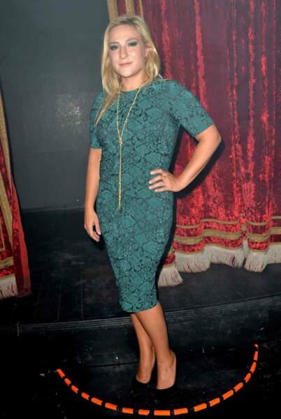 En robe verte lors de la soirée Chantal Thomass et Damart à Paris en septembre 2017