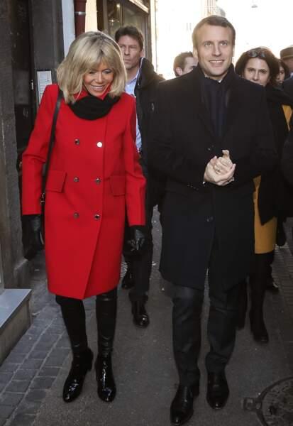 Le couple visite le marché Saint-Pierre à Clermont-Ferrand, le 7 janvier 2017