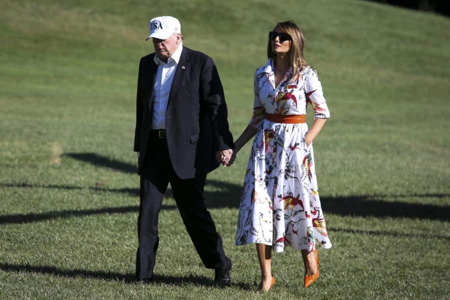 Melania Trump en robe à imprimé tropical Erdem, le 8 juillet 2018 à Washington