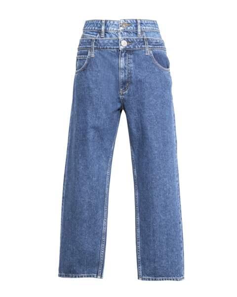 Double, jeans à double boutonnière coupe mom fit, 175 € (Sandro).