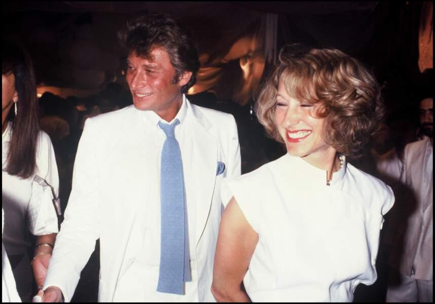 Johnny Hallyday et Nathalie Baye au mariage d'Eddie Barclay