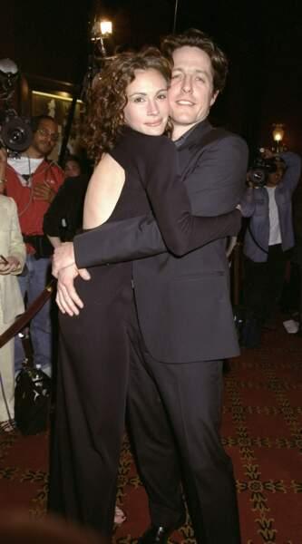 """Avec Hugh Grant à la première de """"Coup de Foudre à Notting Hill"""" à New York en 1999"""