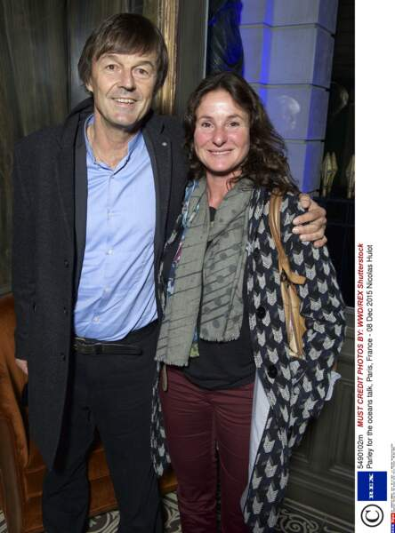 Nicolas Hulot et Florence Lasserre, son épouse en 2015