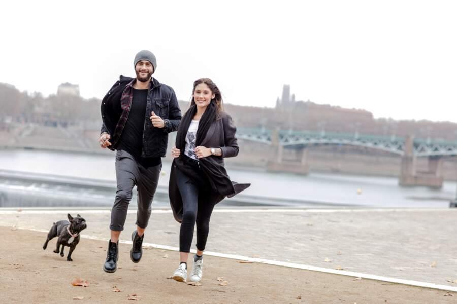 Jesta et Benoît en séance footing sur les bords de la Garonne