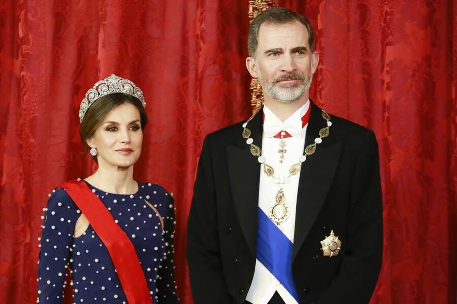 Le roi Felipe VI et la reine Letizia d'Espagne pour accueillir le président portugais
