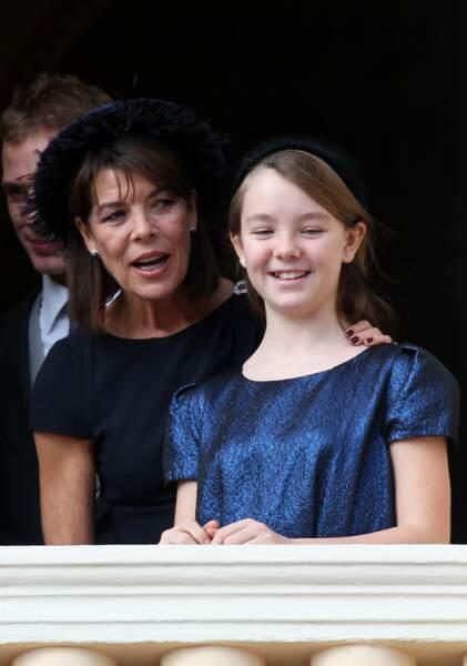 La princesse Alexandra de Hanovre et sa mère Caroline lors de la fête nationale monégasque le 19 novembre 2011
