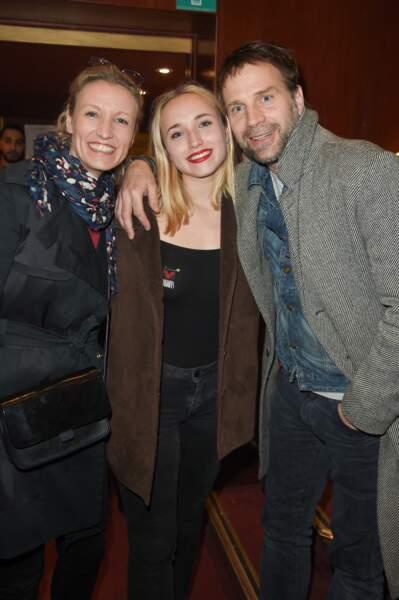 Alexandra Lamy, Chloé Jouannet et son père Thomas Jouannet le 12 mars 2018