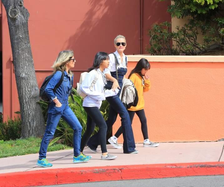 Laeticia Hallyday et ses deux filles Jade et Joy en vadrouille pendant que l'audience se tenait au TGI de Nanterre