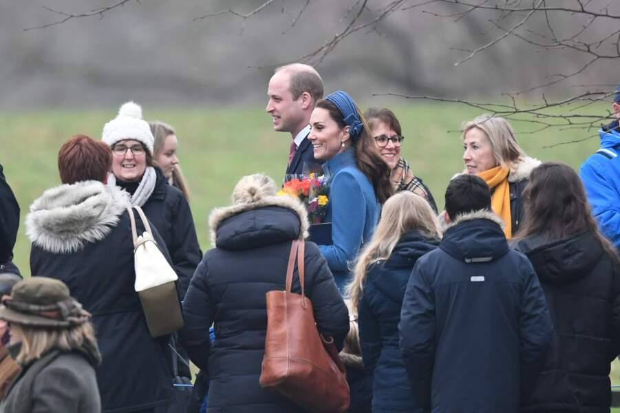Kate Middleton et son mari William très chics à Sandringham pour assister à une messe