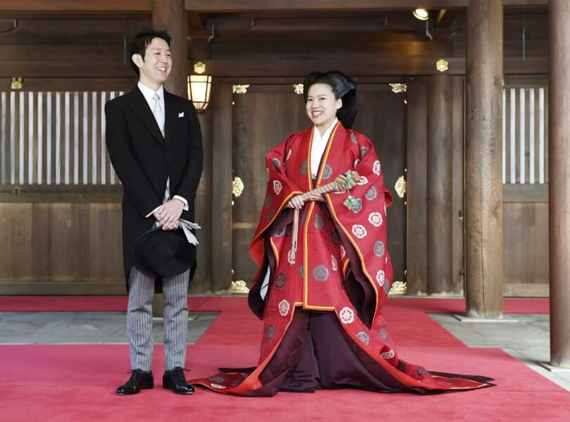 La princesse Ayako du Japon et son époux Kei Moriya le 29 octobre 2018 lors de leur mariage à Tokyo