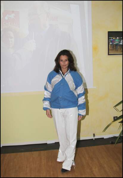 Faustine Bollaert en tenue de jockey le 16 octobre 2010 à Cabourg