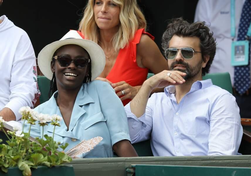 Aïssa Maïga et son mari Jérome à Roland Garros le 2 juin 2018