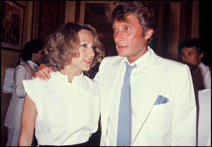 Nathalie Baye et Johnny Hallyday au mariage d'Eddie Barclay à Paris en 1984