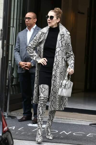 Céline Dion quitte son hôtel le Royal Monceau en total-look python