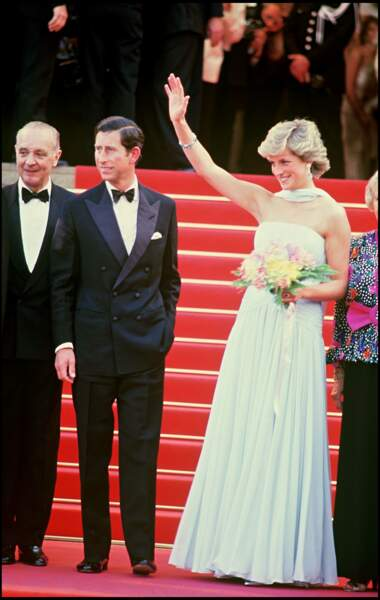 Le prince Charles et la princesse Diana lors du Festival de Cannes en 1987
