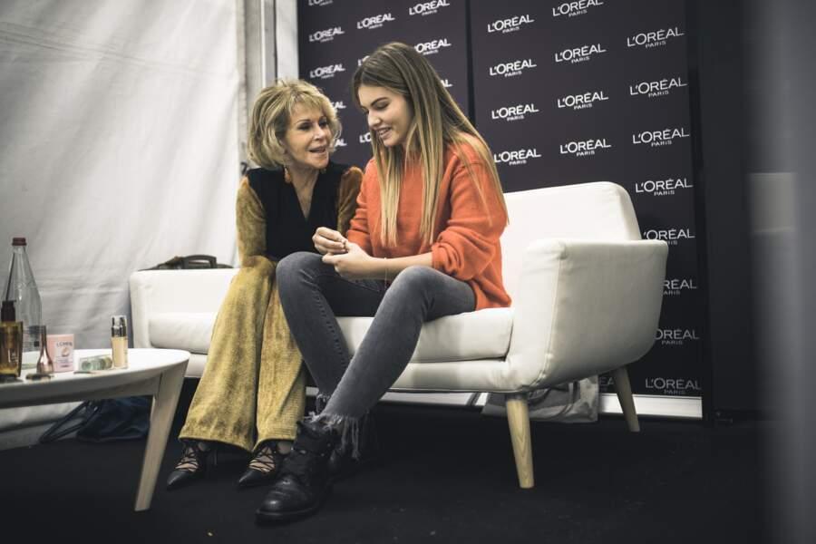 Jane Fonda 80 ans, transmets ses meilleurs conseils à la plus jeune de la bande, Thylane Blondeau, 16 ans.