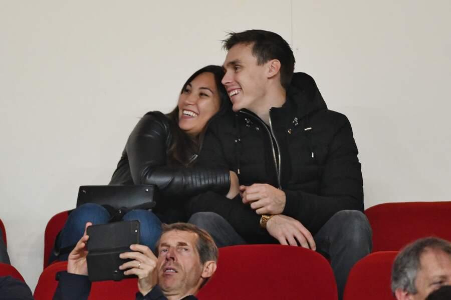 Louis Ducruet et Marie Chevallier assistent au match opposant le Paris Saint-Germain et Monaco, le 11 novembre 2018