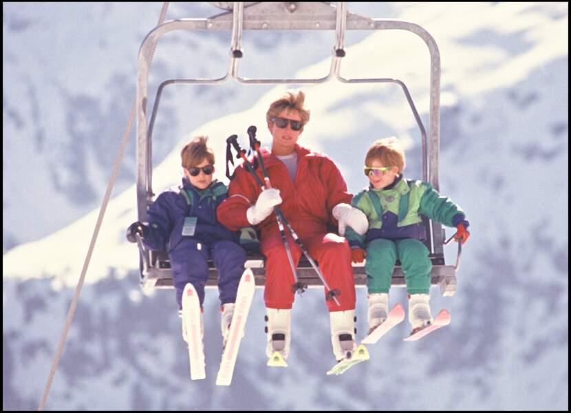 La princesse Diana avec William et Harry en vacances à Lech en 1991