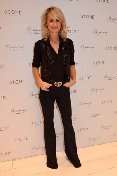 Laeticia Hallyday lors du lancement d'une collection de bijoux à la boutique Bontpoint à Paris le 12 novembre 2014
