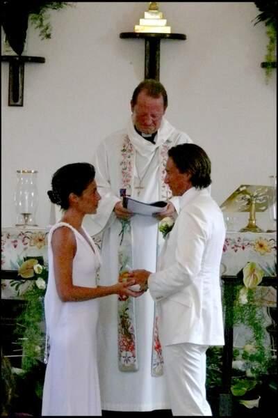 Alessandra Sublet et Thomas Volpi échangent leurs voeux lors de leur mariage en 2008