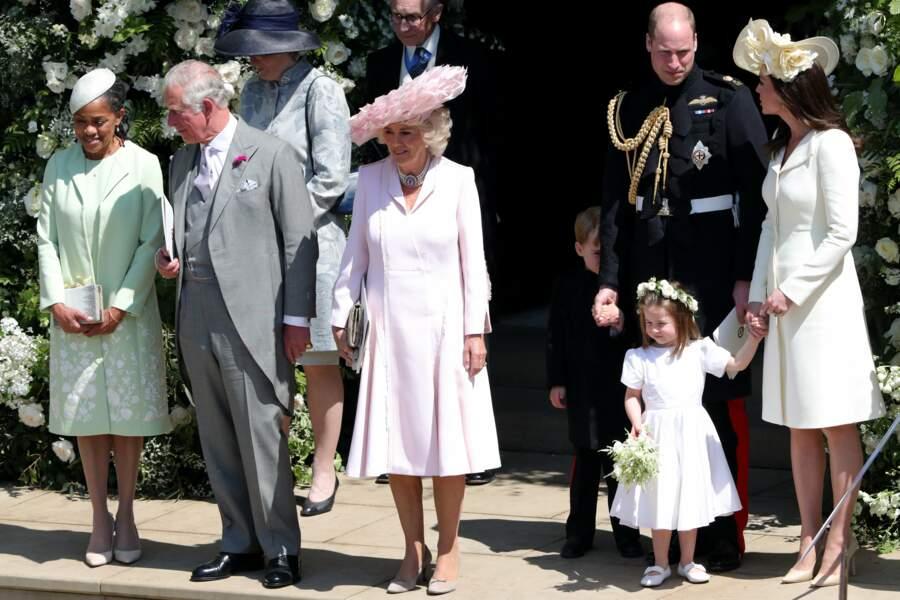 Le prince William, Kate et Charlotte aux côtés de Camilla Parker Bowles, du prince Charles et de Doria Ragland