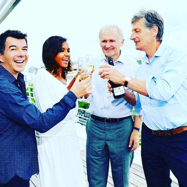 Stéphane Plaza, Karine Le Marchand, T. Valentin et N. De Tavernost (vice-président et président du groupe M6)