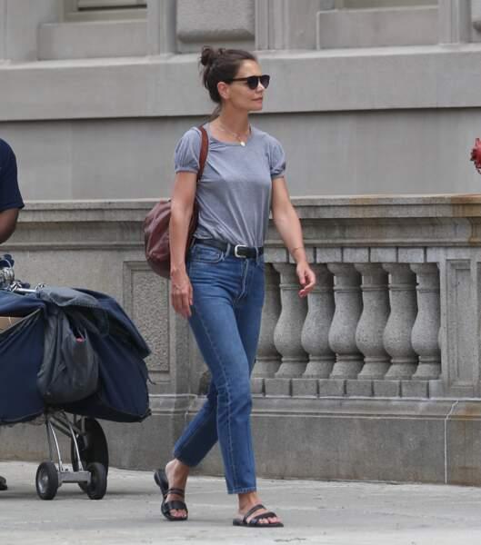 Katie Holmes se promenait déjà dans un look très simple à New York le 17 juillet 2019