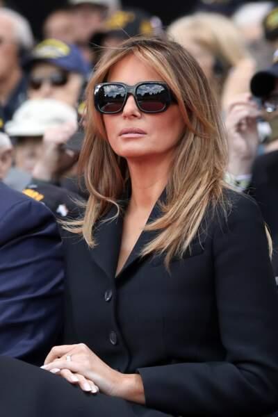 Le look de Melania Trump surprendlors de la cérémonie franco - américaine au cimetière américain de Colleville