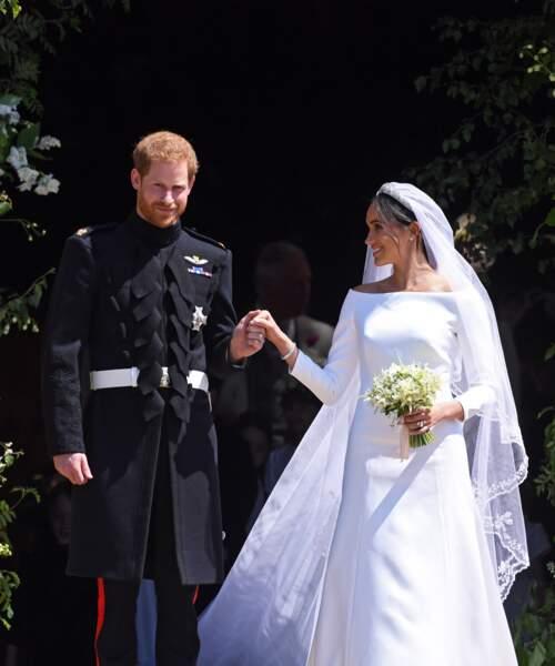 Le prince Harry et Meghan Markle à la sortie de la chapelle St George