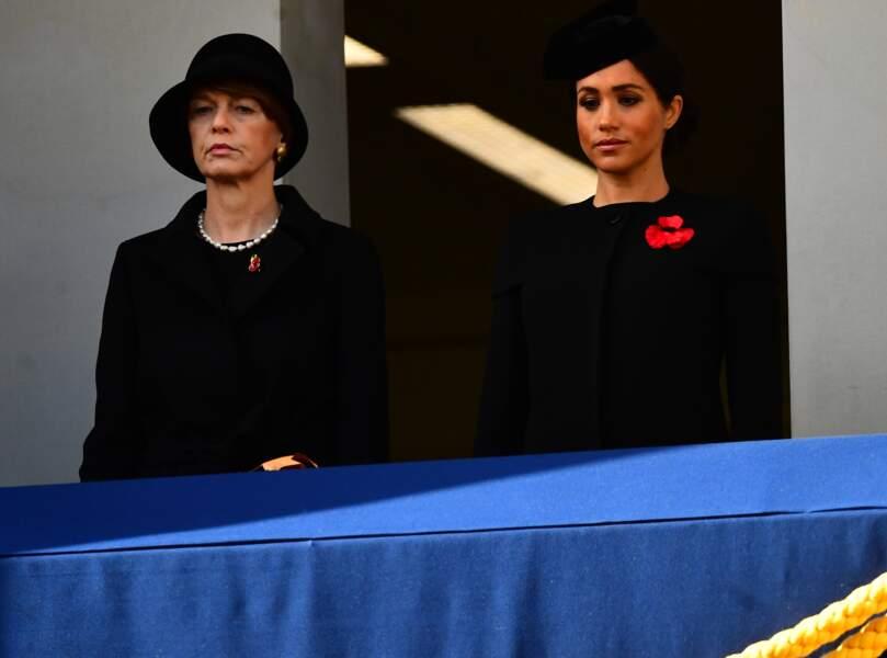 Meghan Markle (enceinte) lors de la cérémonie du centenaire de l'armistice le 11 novembre 2018