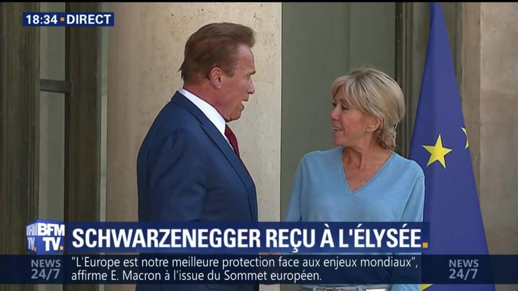 Brigitte Macron et Arnold Schwarzenegger très complices à l'Elysée
