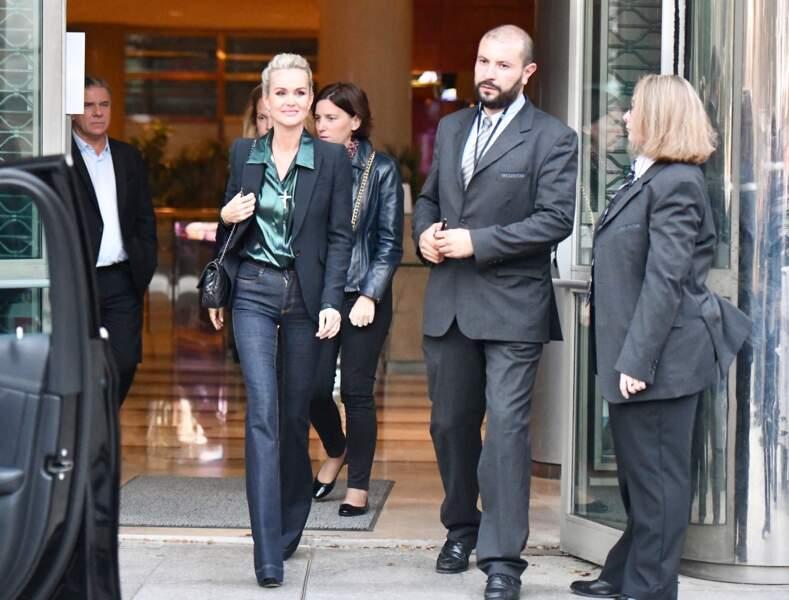 Laeticia Hallyday de retour à Paris pour la promotion de l'album posthume de Johnny, octobre 2019.