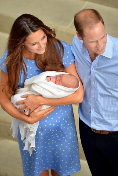 Le prince William et Kate Middleton lors de la naissance du prince George en 2013.