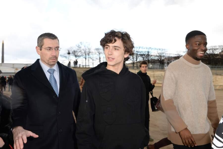 L'acteur franco-américain Timothée Chalamet arrive au défilé Homme automne-hiver 2019/2020 Louis Vuitton.