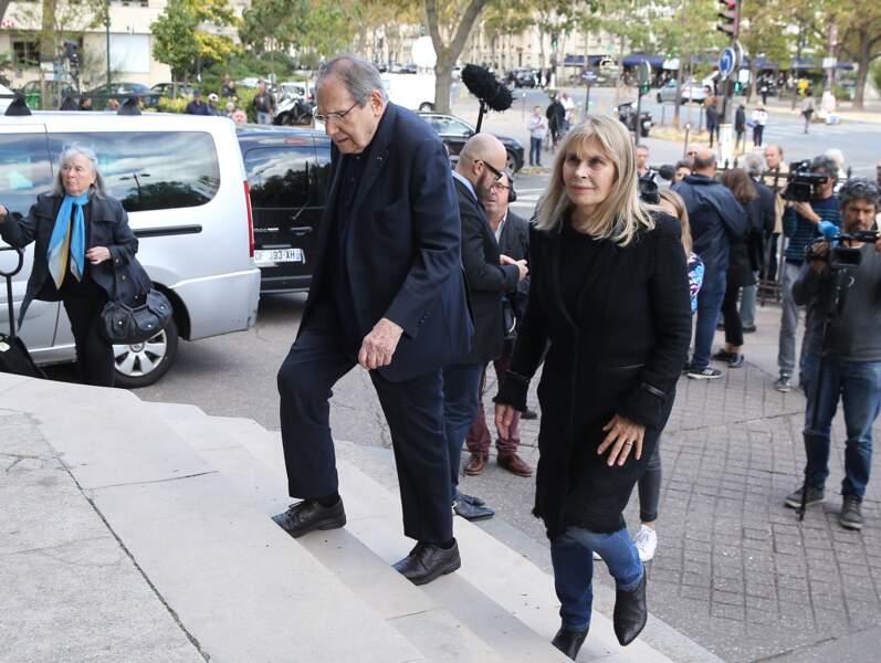Robert Hossein et Candice Patou aux obsèques ducomédien Jean Piat