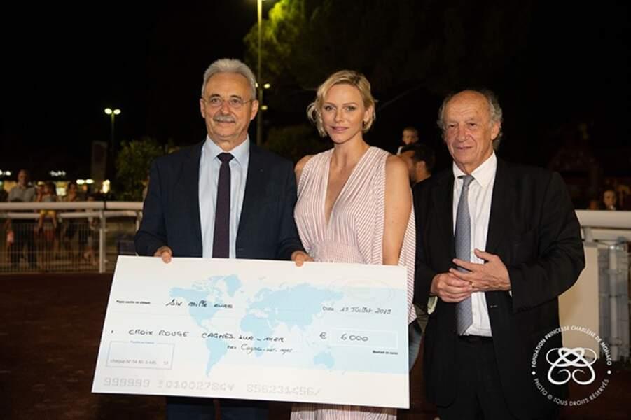 La Princesse Charlène, le sénateur maire de Cagnes-sur-Mer et le président de la société des courses de Côte d'Azur