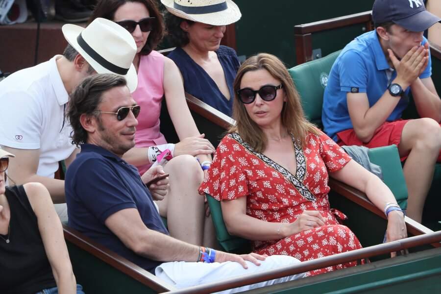 Sandrine Quétier avec son compagnon Sébastien Goales à Roland Garros le 3 juin 2018