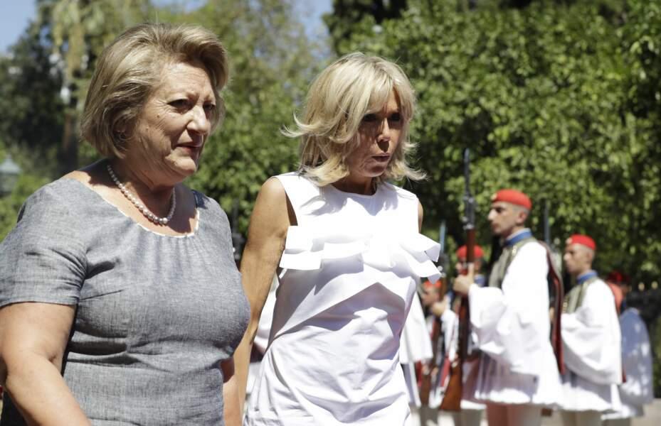 Brigitte Macron lors de son arrivée en Grèce