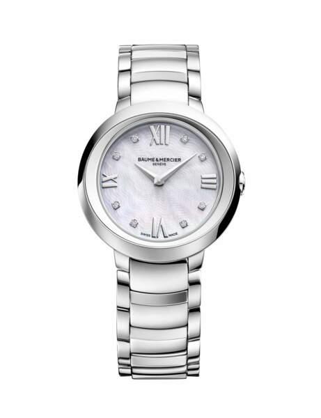 Montre Promesse en acier avec cadran en nacre blanche ornée de diamants, Baume & Mercier, 2600€