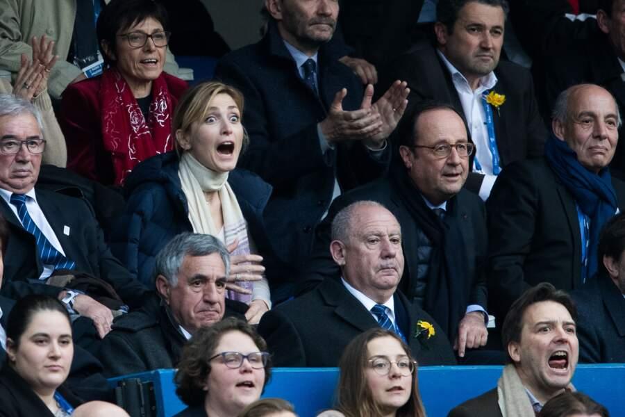 François Hollande et sa compagne Julie Gayet, qui vit le match à fond
