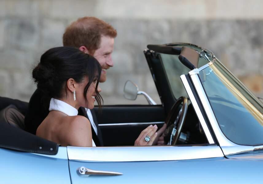 Meghan Markle et le prince Harry quittent le château de Windsor après leur mariage le 19 mai 2018