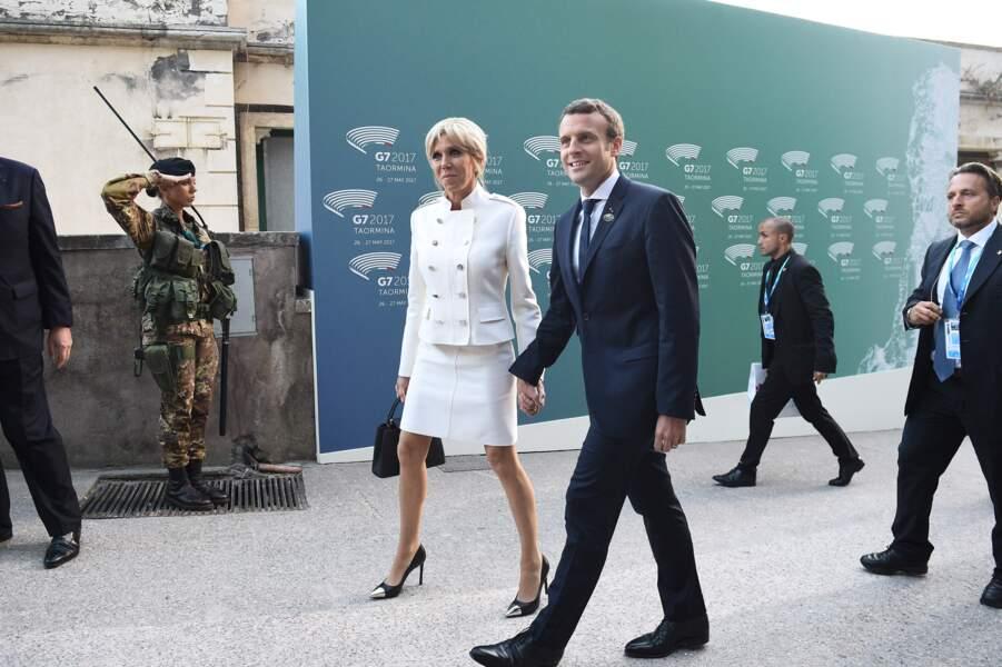 Brigitte et Emmanuel Macron au G7