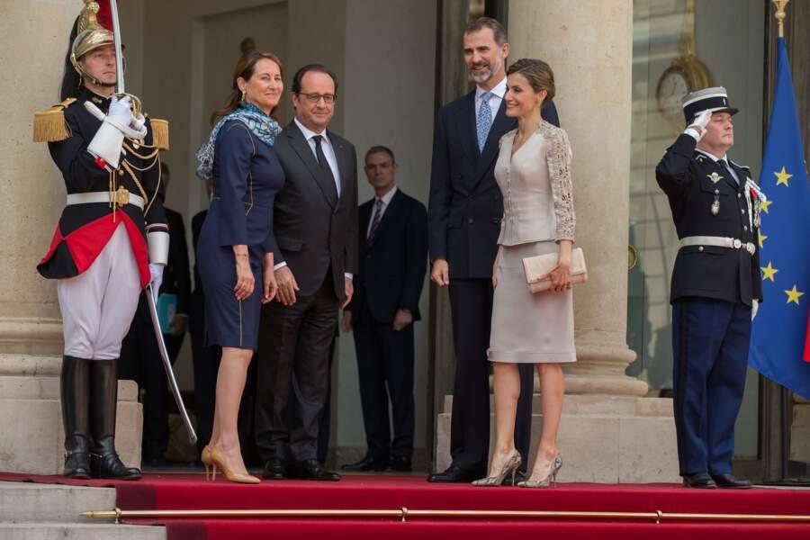 Ségolène Royal et François Hollande avec le roi Felipe VI et la reine Letizia d'Espagne le 2 juin 2015